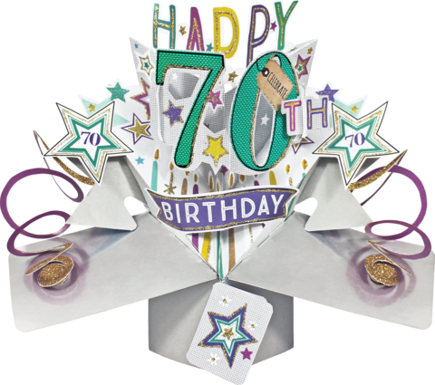Second,Nature,Pop,Ups,-,70th,Birthday,(Stars),Second Nature Pop Ups, Original Pop-ups, Pop up greeting card, Pop up, Pop-up, Pop-ups, 70th Birthday, Stars, Candels, Colourful