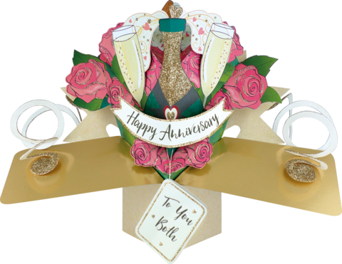 Second,Nature,Pop,Ups,-,Anniversary,Your,(Champagne,&,Glasses,With,Roses),Second Nature Pop Ups, Original Pop-ups, Pop up greeting card, Pop up, Pop-up, Pop-ups, Anniversary, Champagne, Glasses, Couple, Roses, Flowers