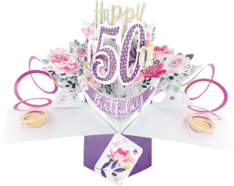 Second,Nature,Pop,Ups,-,50th,(Flowers),Second Nature Pop Ups, Original Pop-ups, Pop up greeting card, Pop up, Pop-up, Pop-ups, Birthday, 50th (Flowers)