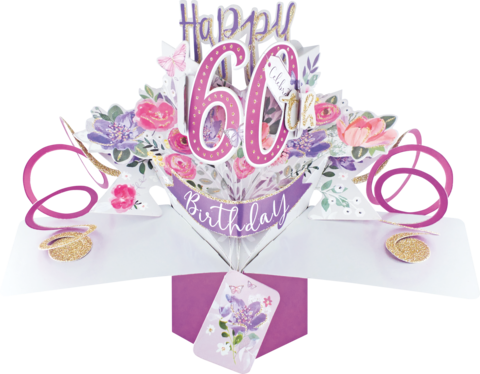 Second,Nature,Pop,Ups,-,60th,(Flowers),Second Nature Pop Ups, Original Pop-ups, Pop up greeting card, Pop up, Pop-up, Pop-ups, Birthday, 60th (Flowers)