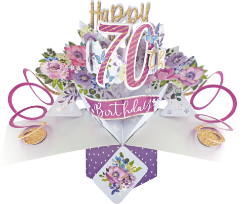 Second,Nature,Pop,Ups,-,70th,(Flowers),Second Nature Pop Ups, Original Pop-ups, Pop up greeting card, Pop up, Pop-up, Pop-ups, Birthday, 70th (Flowers)