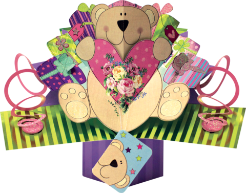 Second,Nature,Pop,Ups,-,Teddy,Bear,With,Heart,Second Nature Pop Ups, Original Pop-ups, Pop up greeting card, Pop up, Pop-up, Pop-ups, Teddy Bear