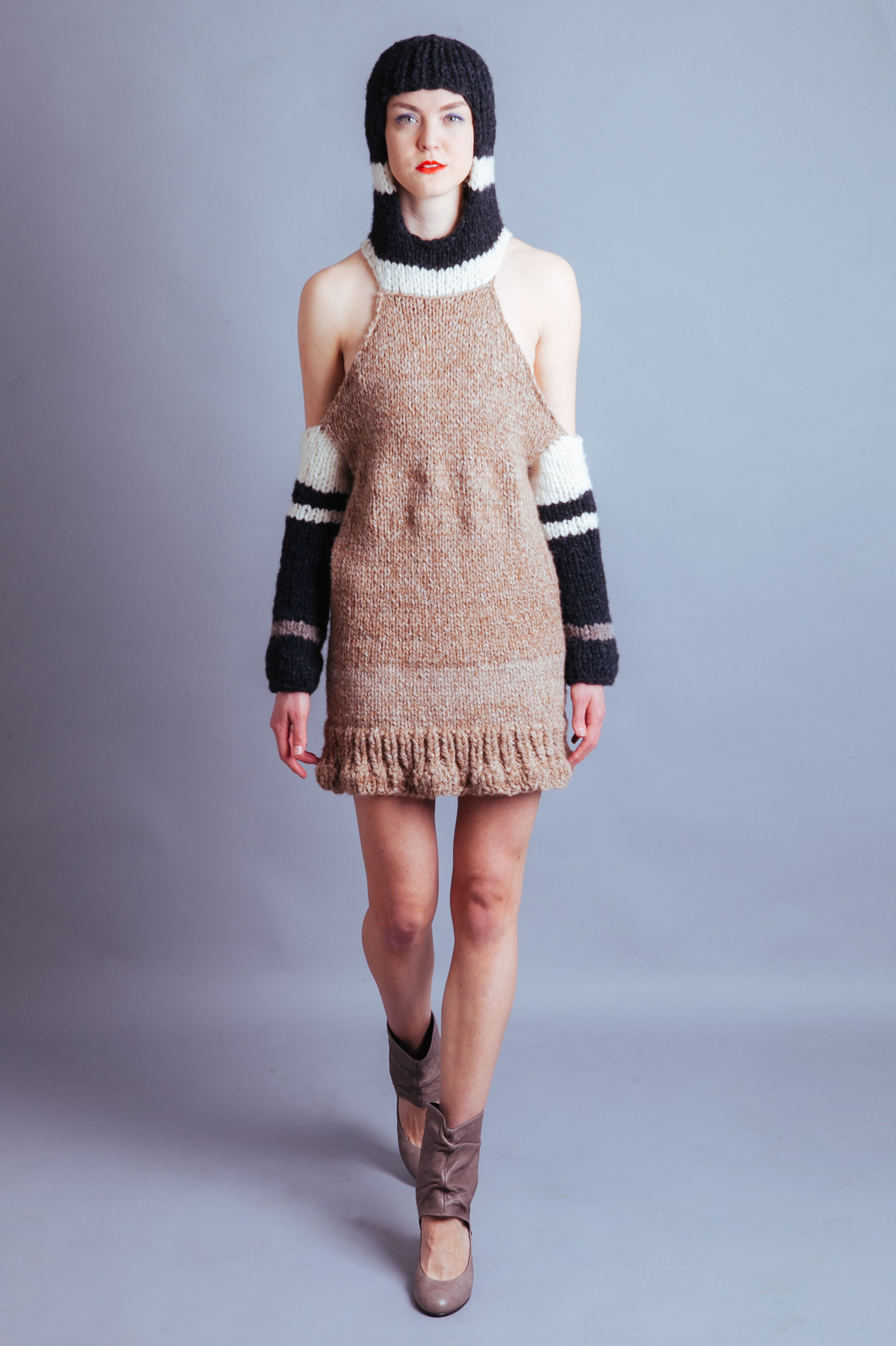 Claire Andrew luxury womenswear designer | Hooded tweed monochrom knit dress | Perfect for February in New York