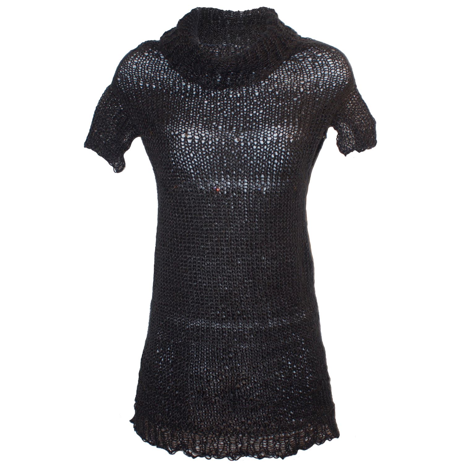 Black Open Knit Top with Swarovski Crystal Embellishment