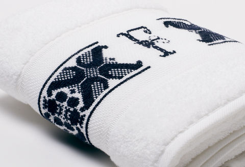 Hand-Embroidered Personalised Towel with Initial — F - product images  of