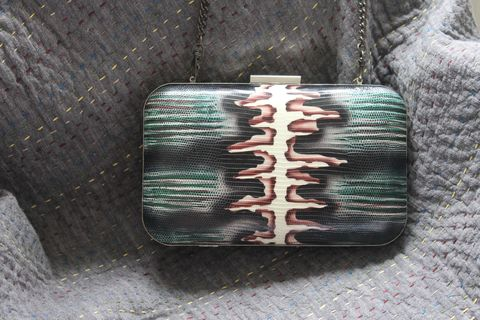Hand,painted,lizard,clutch,Lizard Clutch, hand painted clutch, clutch,  mini-ipad bag, al griffiths, clutch bag, gunmetal