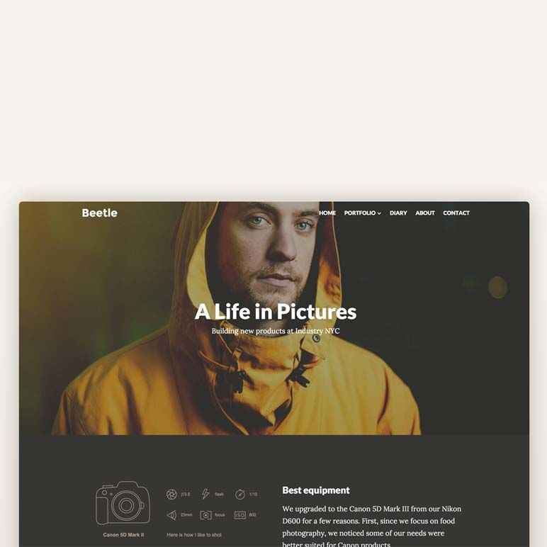Home page - product images  of