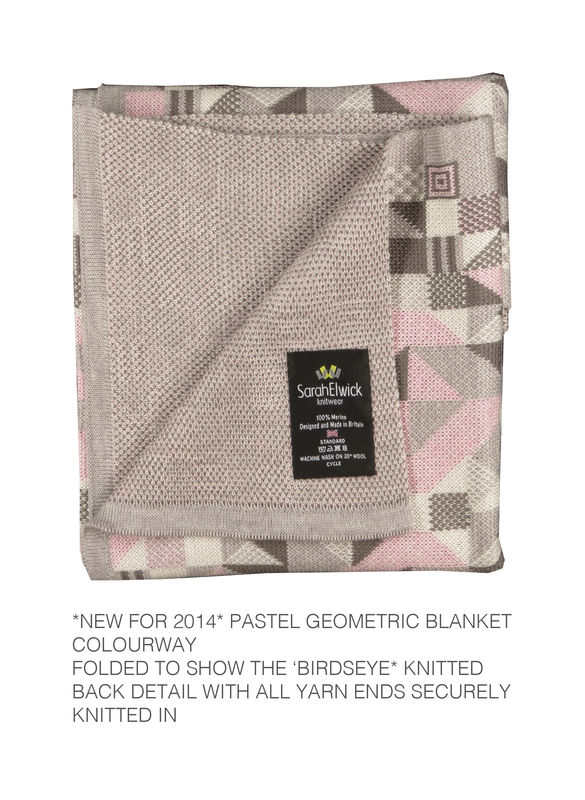 Geometric merino Pram or Buggy Blanket - Pastel colourway - product images  of
