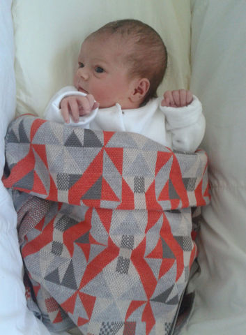 Geometric,merino,Pram,or,Buggy,Blanket,-,Orange,&,Grey,colourway,Baby pram/buggy blanket, merino, machine knitted, geometric pattern