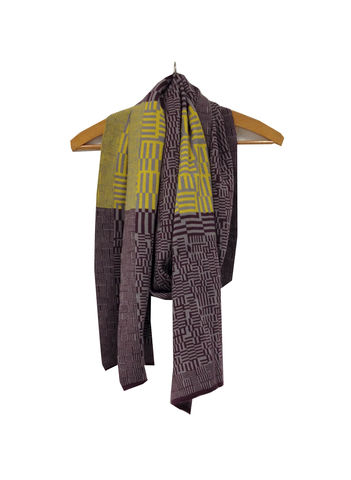 AMAZING,MAZE,Scarf,-,Purple,,grey,,and,mustard,colourway,scarves, scarf, gifts, winter accessories