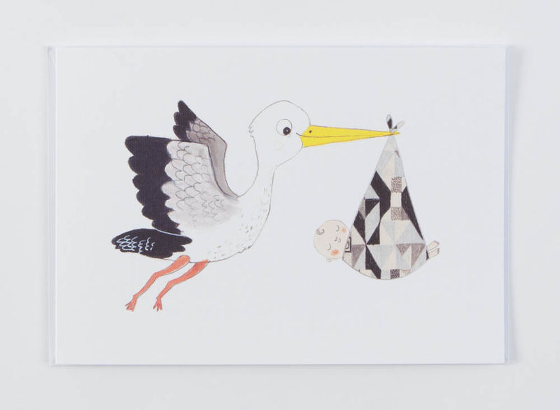 Beautiful illustrated 'Stork' greetings card by Sarah Dyer - five colourways - product images  of