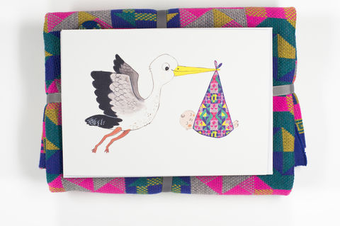 Beautiful,illustrated,'Stork',greetings,card,by,Sarah,Dyer,-,five,colourways,greetings cards, new baby card, cards, new arrival
