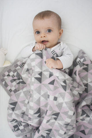 Geometric,merino,Pram,or,Buggy,Blanket,-,Pastel,colourway,Baby pram/buggy blanket, merino, machine knitted, geometric pattern