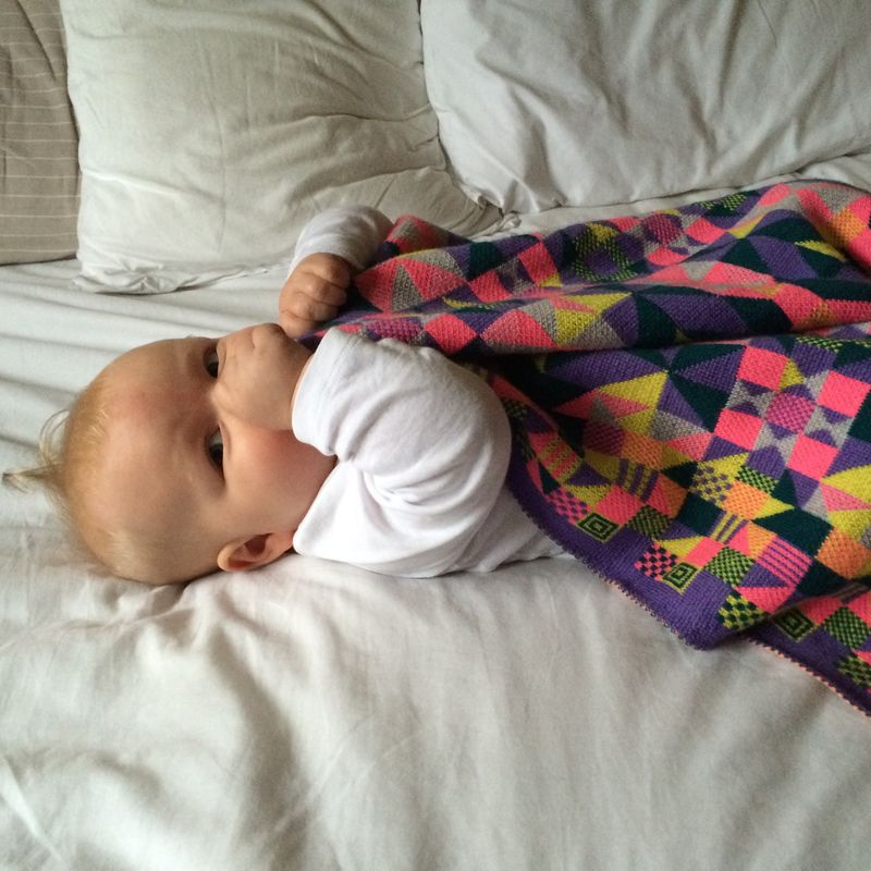 Geometric merino Pram or Buggy Blanket - Fluoro colourway - product images  of