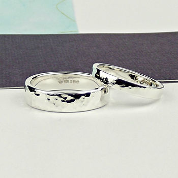 Sterling Silver Wedding Ring - Forged Texture - product images  of