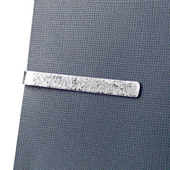 Personalised Sterling Silver Tie Clip - Terra Texture - product images  of