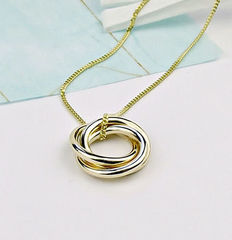 Solid,Gold,Trio,Necklace,gold trinity necklace