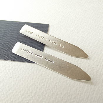 Personalised Sterling Silver Collar Stiffeners - product images  of