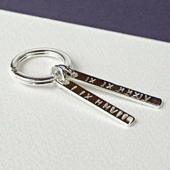 Personalised Sterling Silver Key Ring - Roman Numerals - product images  of