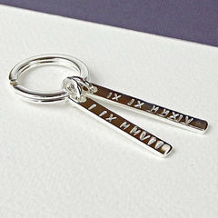 Personalised,Sterling,Silver,Key,Ring,-,Roman,Numerals,sterling silver personalised keyring, silver key ring, roman numerals keyring, location co-ordinates, special date memento, silver wedding anniversary gift, wedding gift, personalised gift for groom, personalised gift for him, engagement gift, valentine g