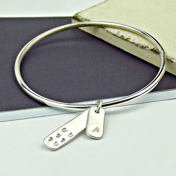 Personalised Sterling Silver Tag Bangle - Moment In Time - product images  of