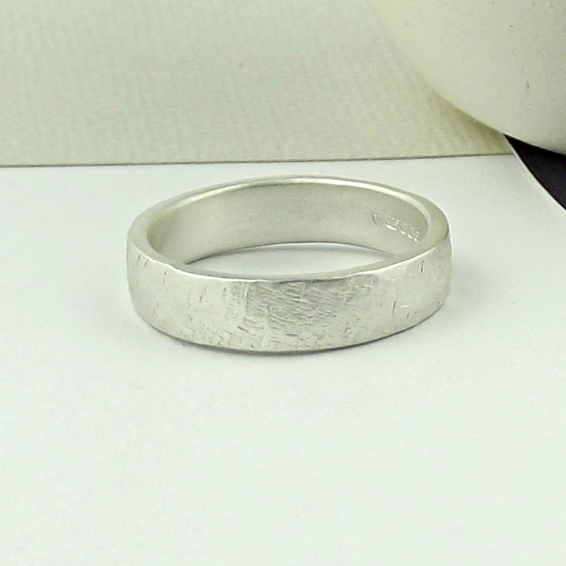 Sterling Silver Wedding Ring - Terra Texture - Matte Finish  - product images  of