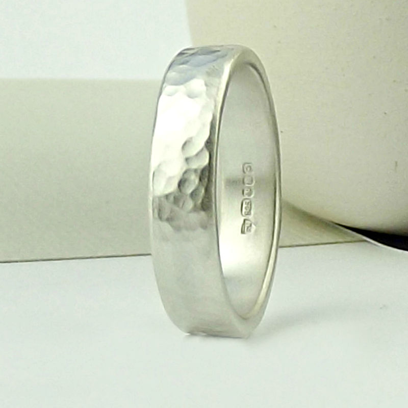 Sterling Silver Wedding Ring - Forged Texture - Matte Finish  - product images  of