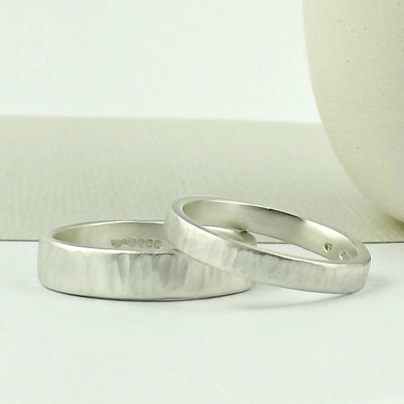 Sterling Silver Wedding Ring - Ripple Texture - Matte Finish - product images  of