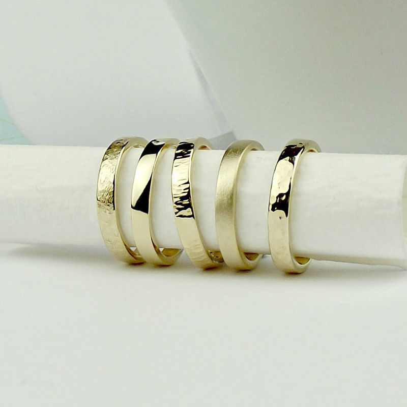 Solid 9ct Gold Textured Wedding Rings - product images  of