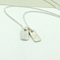 Sterling,Silver,Tag,Necklace,-,Hidden,in,Plain,Sight,sterling silver tag necklace, braille necklace, braille jewellery, hidden message necklace, coded message necklace, coded message jewelry, silversynergy
