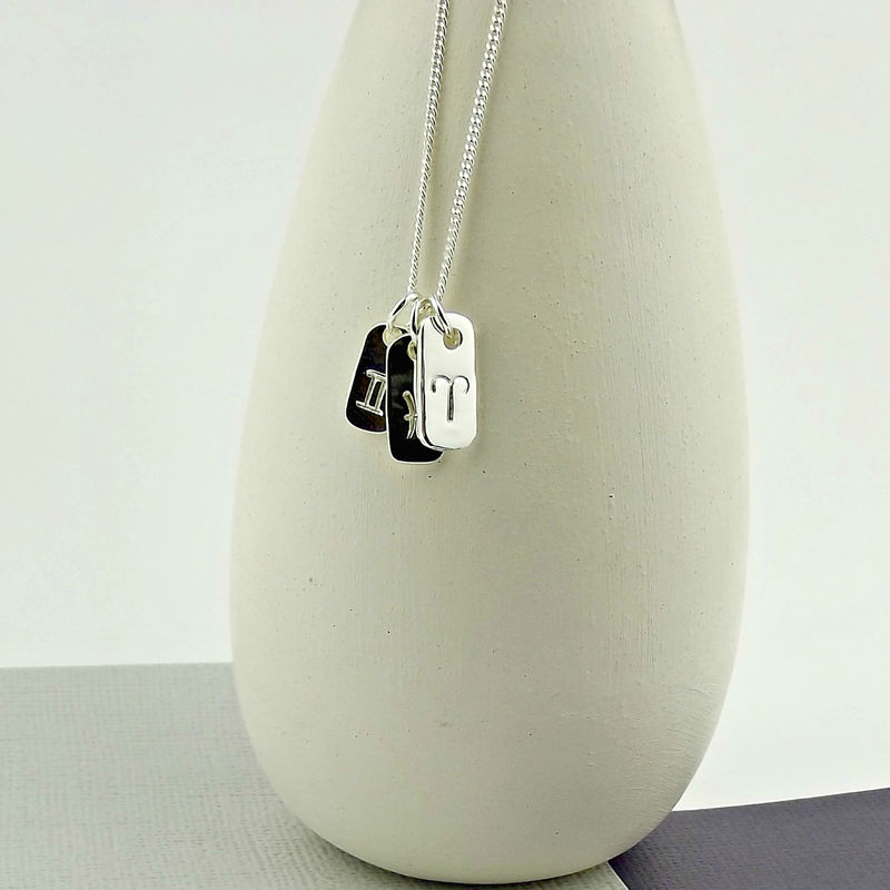 Sterling Silver Zodiac Tag Necklace - product images  of