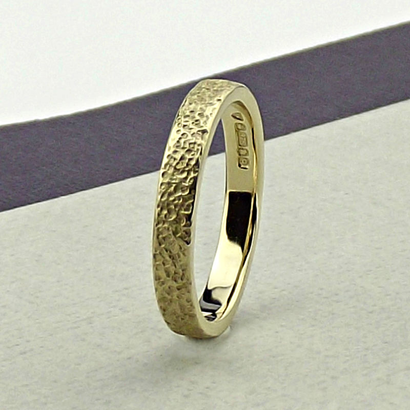 Solid 9ct Gold Wedding Ring - Granite Finish - product images  of