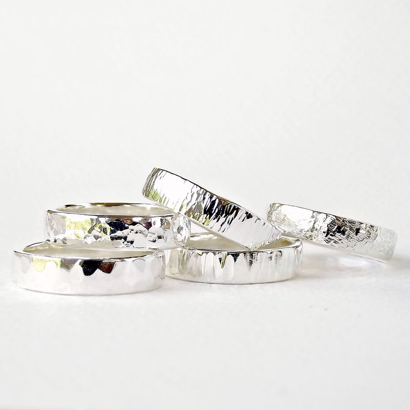 Sterling Silver Wedding Ring - Planished Texture - product images  of