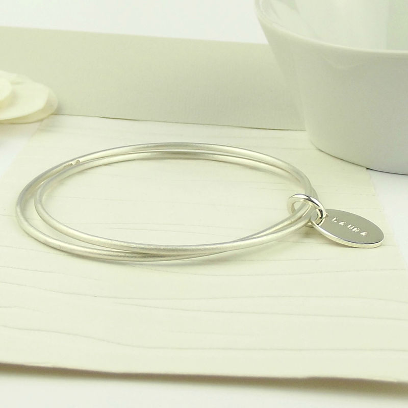 Personalised Sterling Silver Tag Eternity Bangle - product images  of