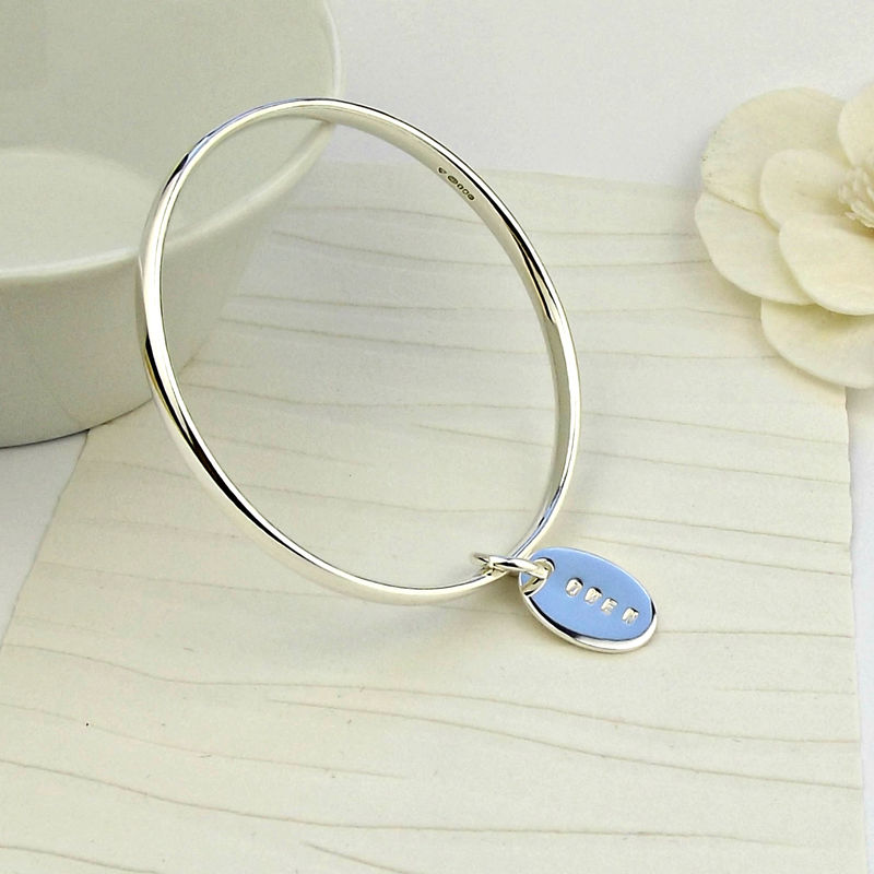 Simple Silver Personalised Bangle - product images  of