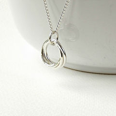 Tiny,Sterling,Silver,Trinity,Necklace,sterling silver trinity necklace, linked silver necklace,  30th birthday gift, gift for bride, bridesmaid gift, russian wedding ring necklace, russian wedding ring, silversynergy