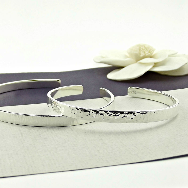 Textured Sterling Silver Cuff - Personalised - product images  of