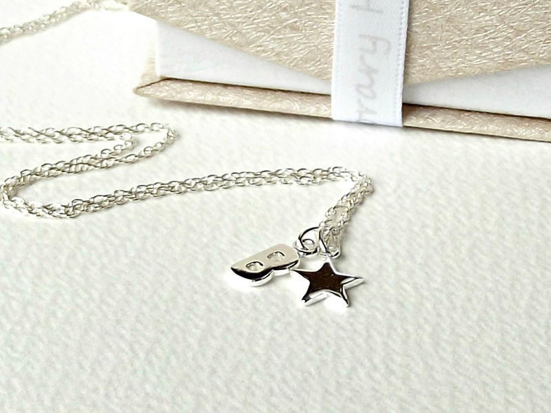 Sterling Silver Star And Initial Necklace - product images  of