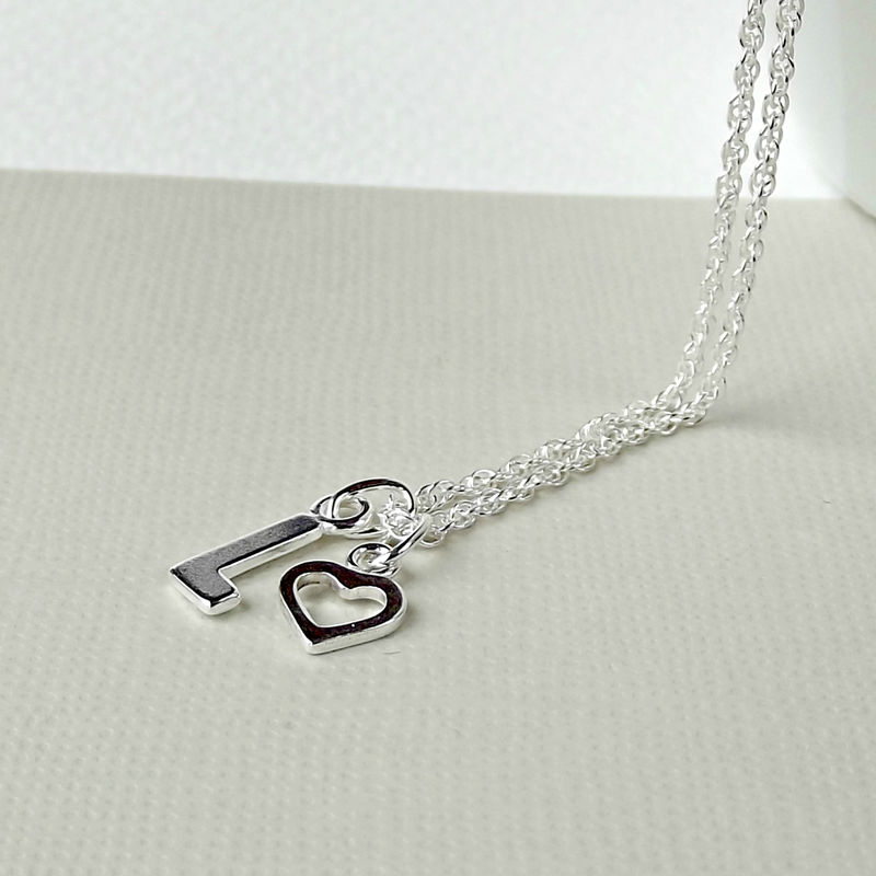 Tiny Sterling Silver Heart And Initial Necklace - product images  of