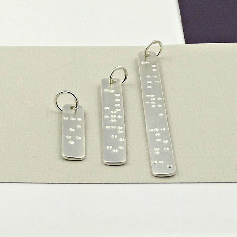 Silver Tag Necklace - Hidden in Plain Sight - Braille - product images  of