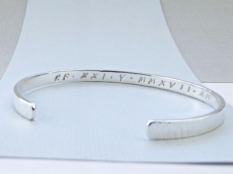 Sterling Silver Cuff Bracelet - Roman Numerals - product images  of
