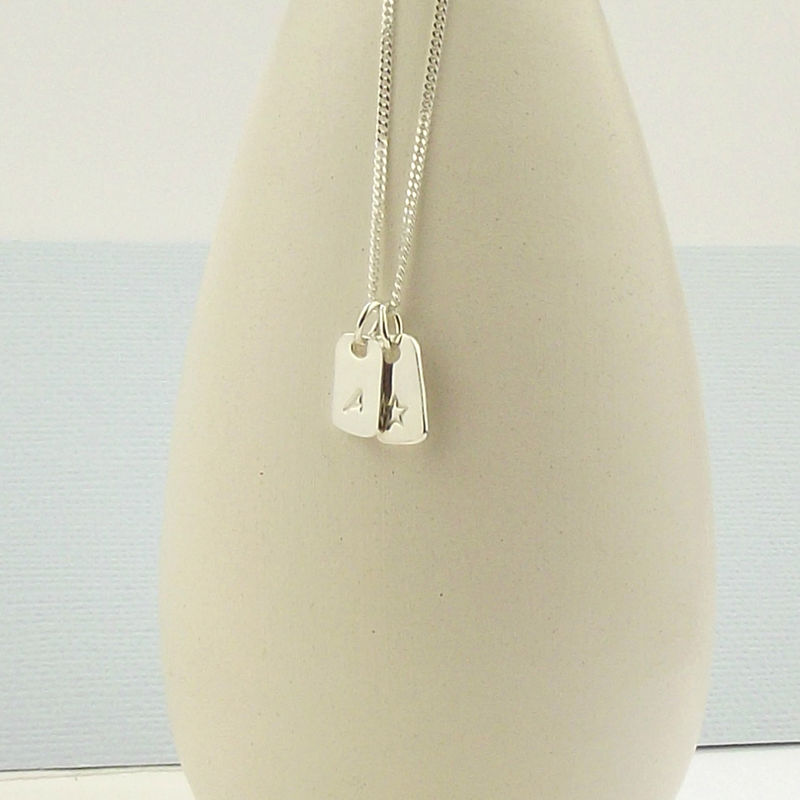 Silver Tag Necklace - Star & Initial - product images  of