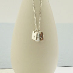 Heart & Initials Silver Tag Necklace - product images  of