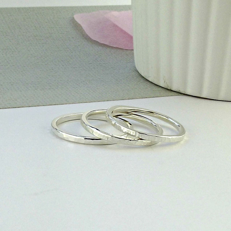 Skinny Sterling Silver Stacking Rings - product images  of