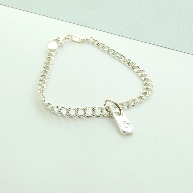 Sterling Silver Initial Tag Bracelet - product images  of