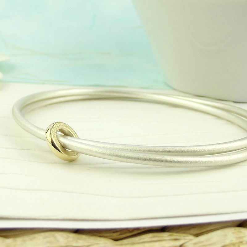 Sterling Silver Linked Bangle with Gold Spinner - product images  of