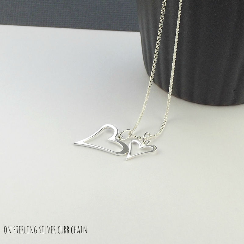 Sterling Silver Love Hearts Charm Necklace - product images  of
