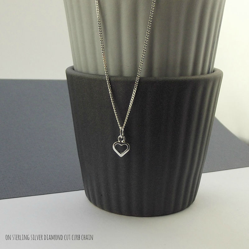 Sterling Silver Tiny Heart Charm Necklace - product images  of