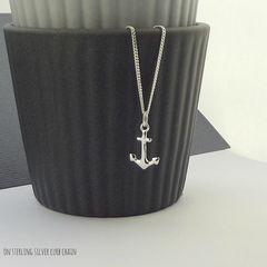 Sterling,Silver,Anchor,Charm,Necklace,silver charm necklace, sterling silver anchor charm necklace, nautical gift, gift for sailor, silversynergy