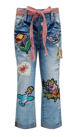 60%,OFF,Hannah,Banana,Embellished,Denim,Pants,girls patched jeans|hannah banana fall 2018|girls trendy denim jeans| girls embellished jeans|